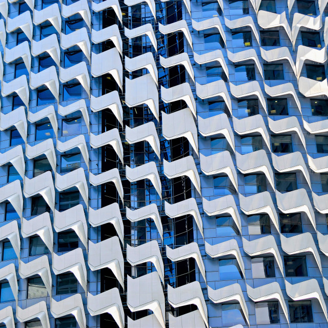 """""""Geometric Facade of Office Tower"""" stock image"""