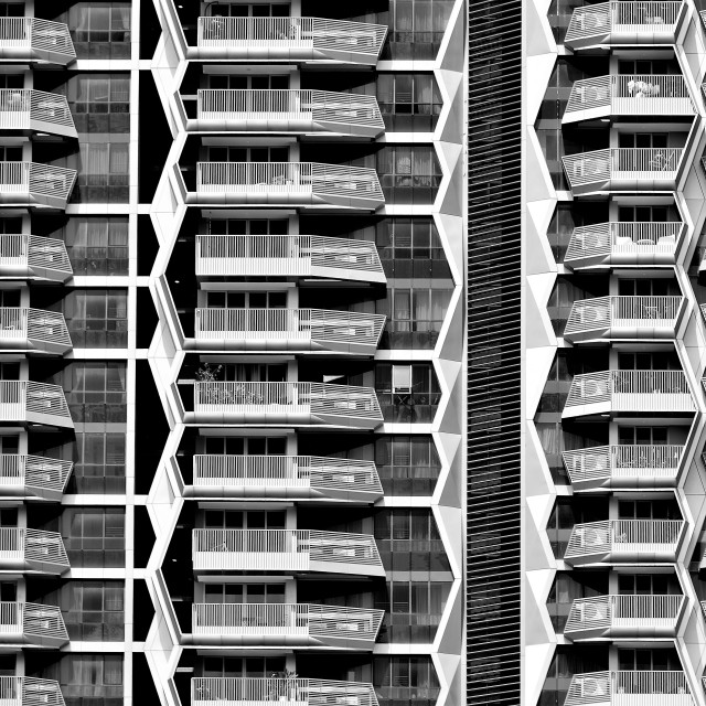 """Geometric Apartment Tower"" stock image"