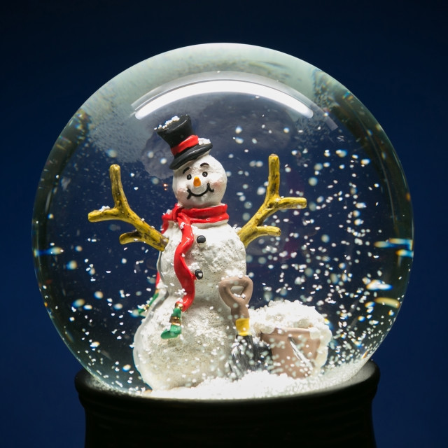 """Winter Snow Globe With Snowman on Blue"" stock image"