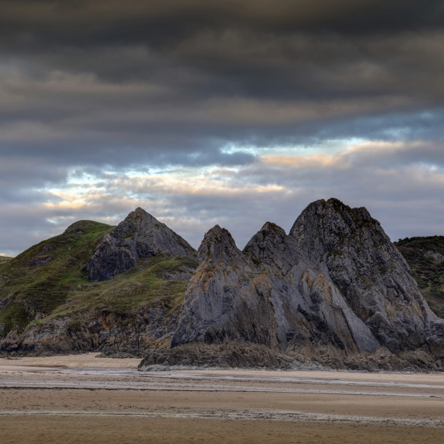 """Jagged Three Cliffs Bay"" stock image"