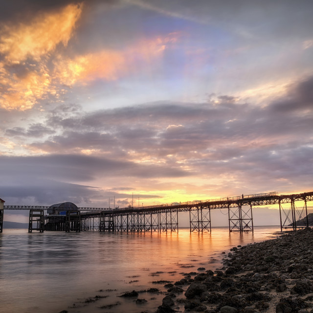 """Dawn sky at Mumbles pier"" stock image"
