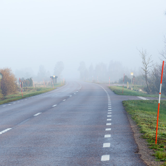 """Misty road with snow stakes"" stock image"