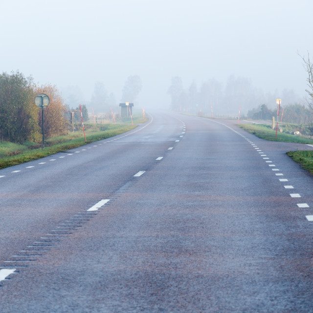 """Foggy road by morning sunshine"" stock image"