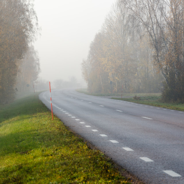"""Misty road in the morning"" stock image"
