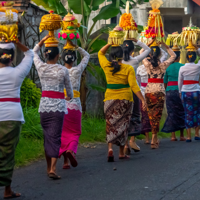 """""""Balinese Procession row"""" stock image"""