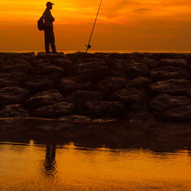 """""""fisherman with rod"""" stock image"""