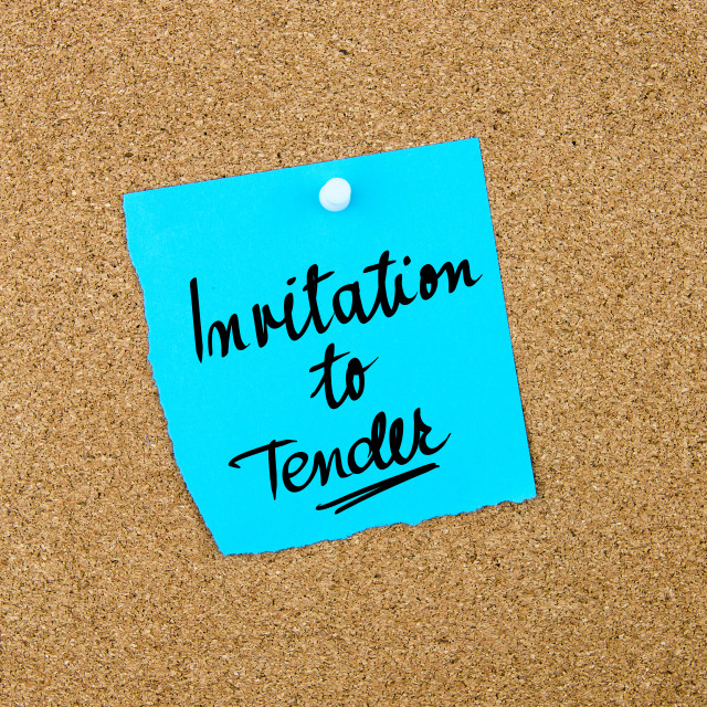 """""""Invitation To Tender written on blue paper note"""" stock image"""
