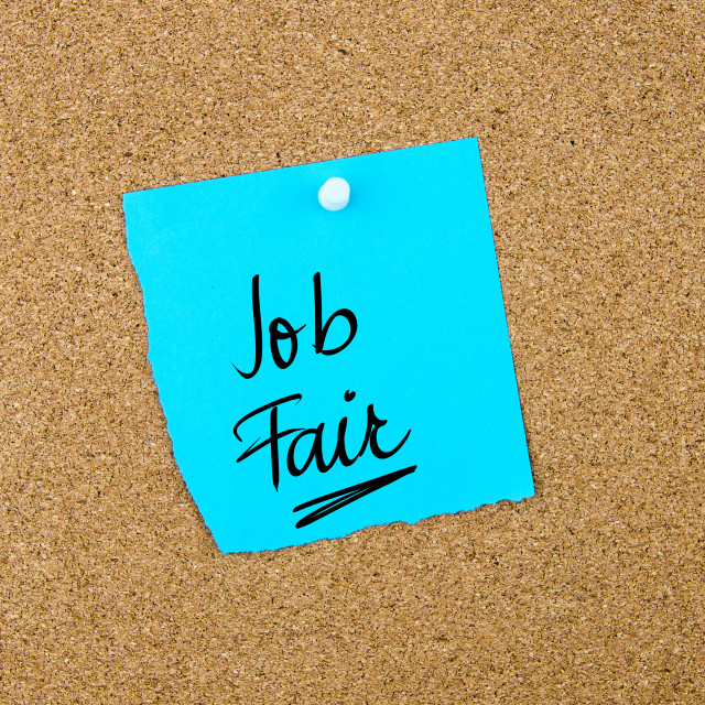 """Job Fair written on blue paper note"" stock image"