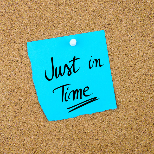 """""""Just In Time written on blue paper note"""" stock image"""