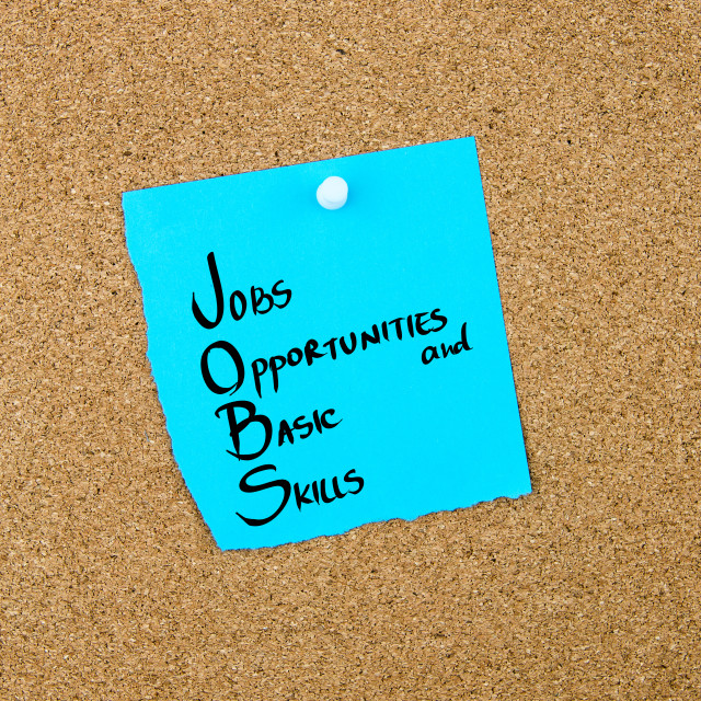 """""""Business Acronym JOBS as Jobs Opportunities and Basic Skills"""" stock image"""