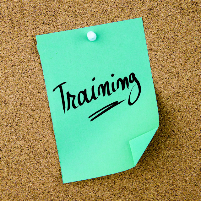 """""""Training written on green paper note"""" stock image"""