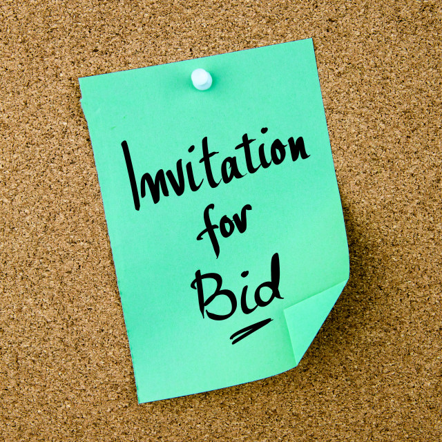 """Invitation For Bid written on green paper note"" stock image"