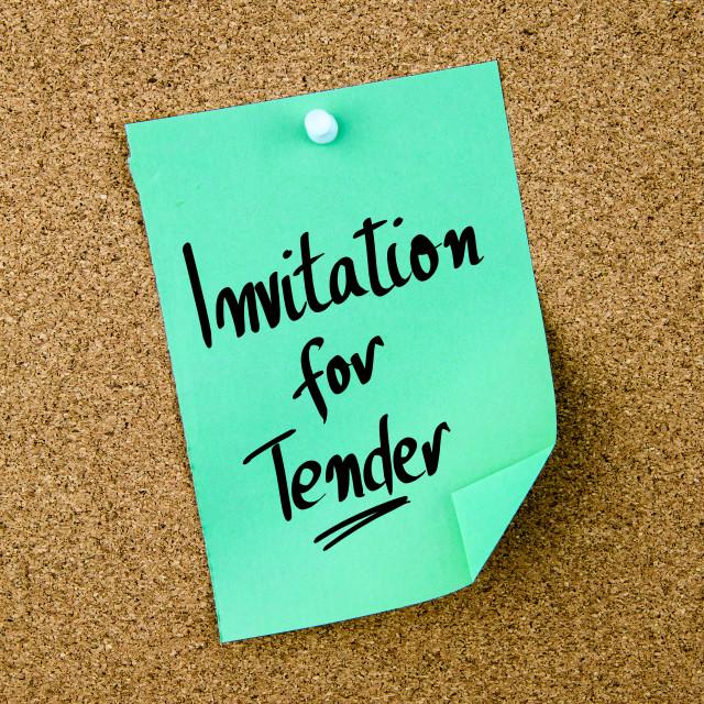 """Invitation For Tender written on green paper note"" stock image"