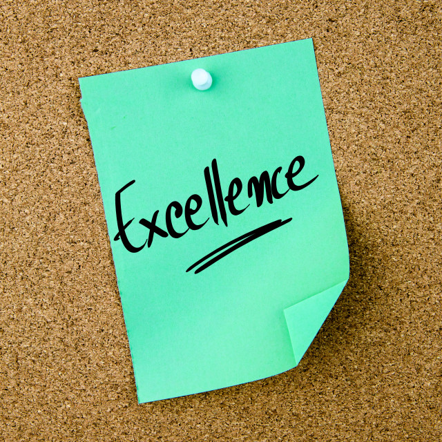 """""""Excellence written on green paper note"""" stock image"""