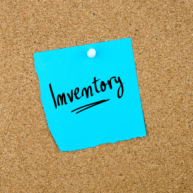 """""""Inventory written on blue paper note"""" stock image"""