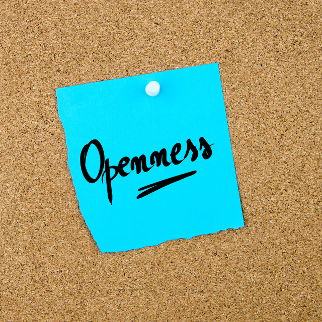 """""""Openness written on blue paper note"""" stock image"""