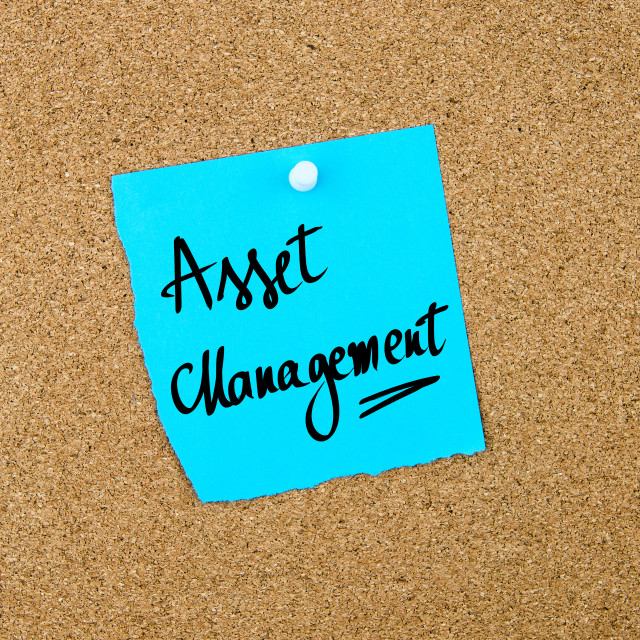 """""""Asset Management written on blue paper note"""" stock image"""