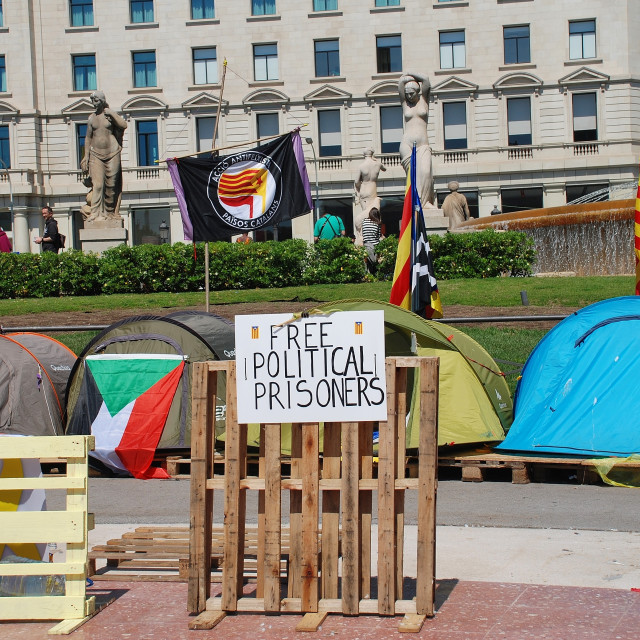 """Free Political Prisoners camp, Barcelona"" stock image"