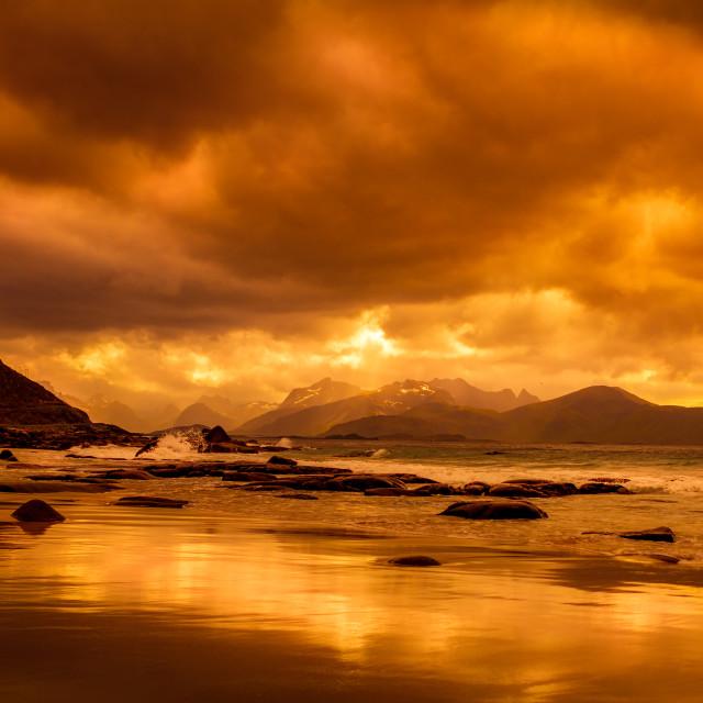 """""""Sunset on the Lofoten"""" stock image"""