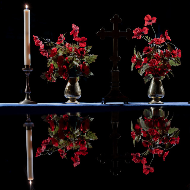 """""""Remembrance Day Poppies Reflected on a Grand Piano"""" stock image"""