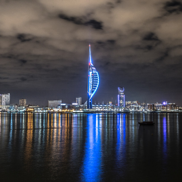 """""""spinnaker tower at night"""" stock image"""