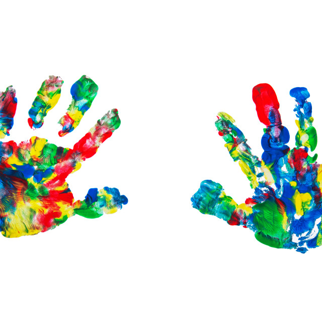 """""""Close up of colored hands print on white background"""" stock image"""
