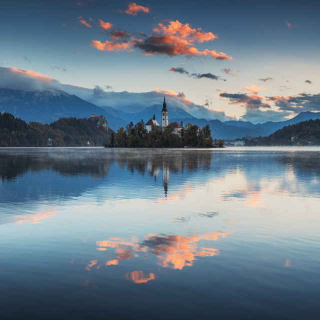"""""""Lake Bled with St. Marys Church of the Assumption on the small i"""" stock image"""