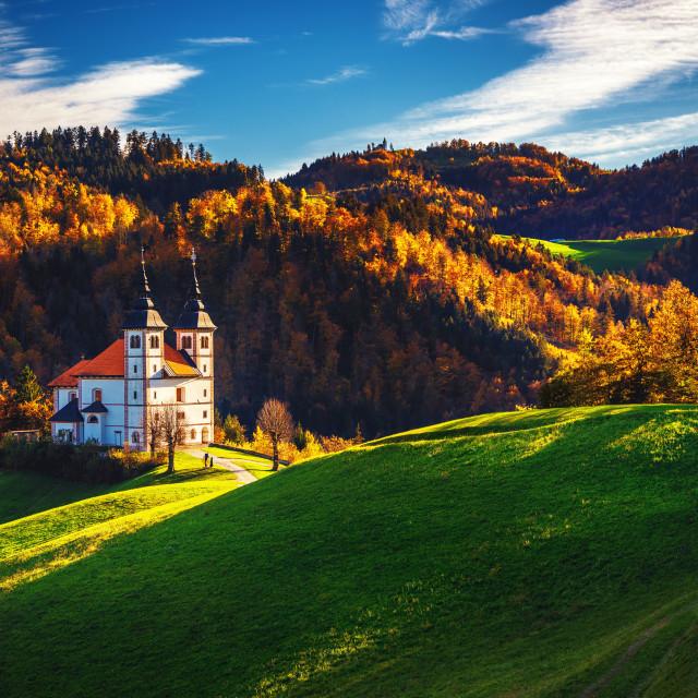 """Church of Saint Volbenka stands on the Church Hill near the Crni"" stock image"