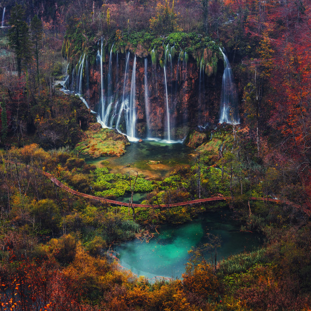 """Beautiful waterfall autumn in Plitvice National Park, Croatia"" stock image"