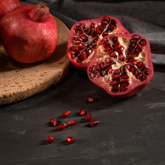 """""""Ripe pomegranate and seeds"""" stock image"""