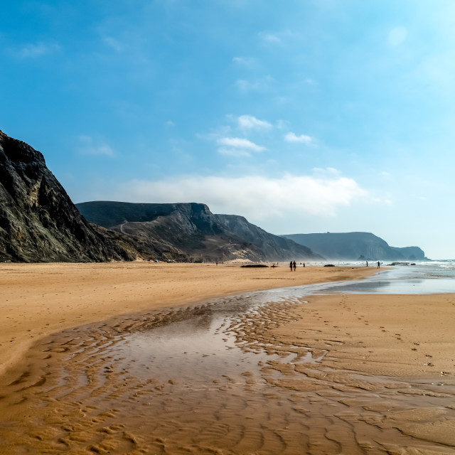 """""""Summer Ocean Beach And Mountains Landscape In Portugal"""" stock image"""