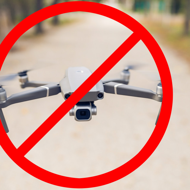 """Forbidden drone flying, no drone zone sign. Forbidden quadcopter symbol"" stock image"