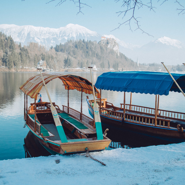 """Boats on Lake Bled"" stock image"