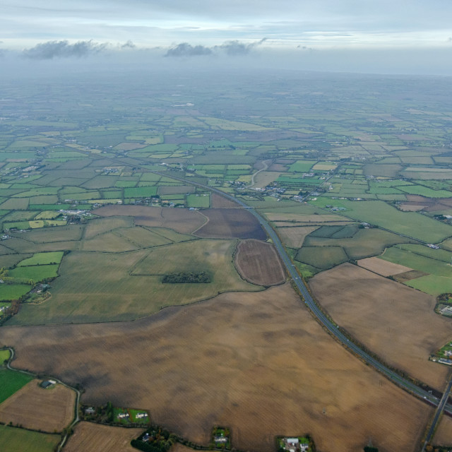 """Irish countryside from above"" stock image"