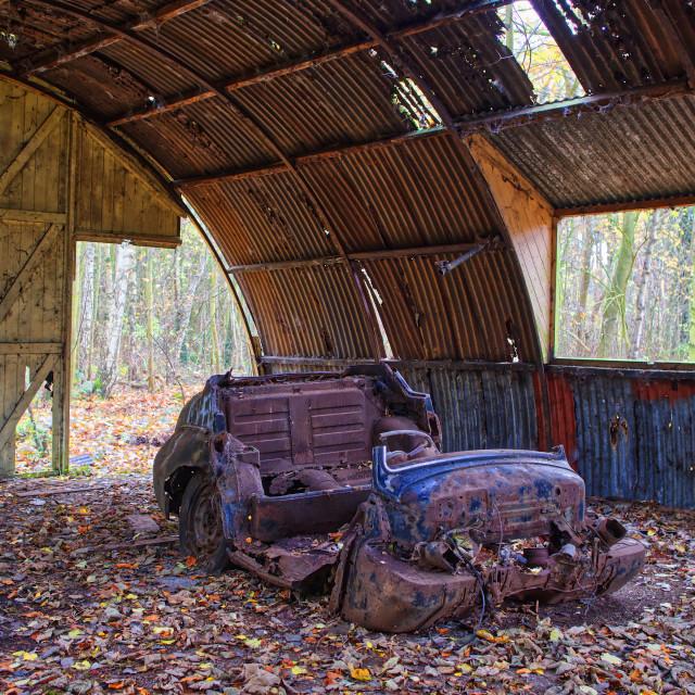 """""""Abandoned car Shropshire"""" stock image"""