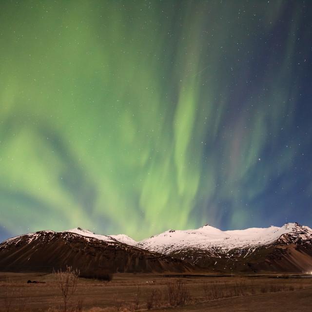 """northern lights - hofn -iceland - mountain landscape"" stock image"