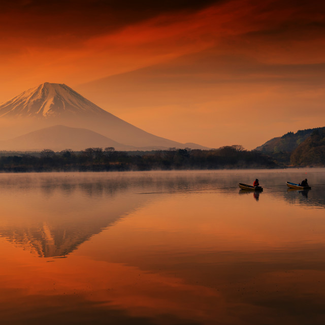 """Fujisan at dawn in Shoji lake with fishermen"" stock image"