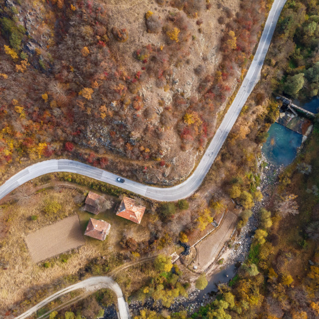 """""""Colorful mountain road in autumn."""" stock image"""