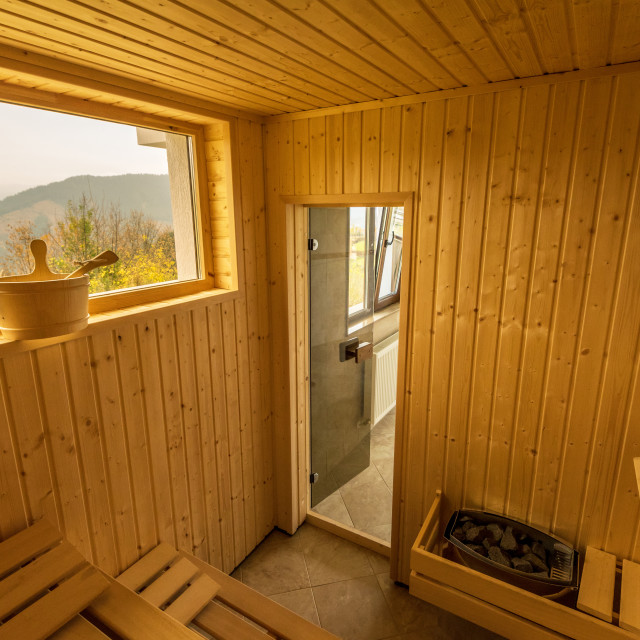 """Interior of a wooden finnish sauna."" stock image"
