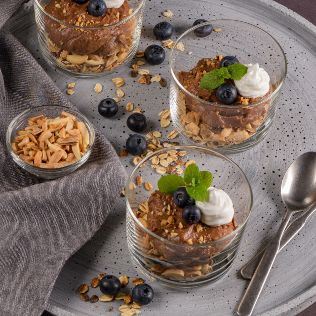 """""""Glass cups of chocolate and chestnuts mousse"""" stock image"""