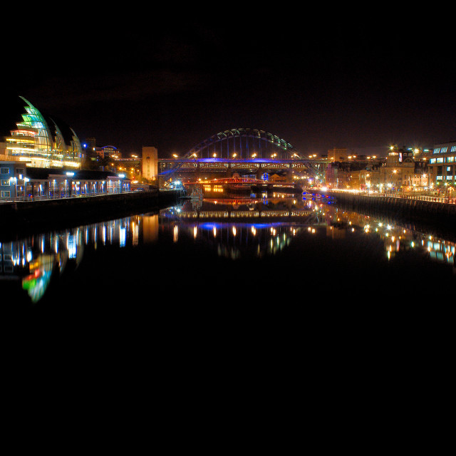 """Newcastle upon Tyne at night"" stock image"