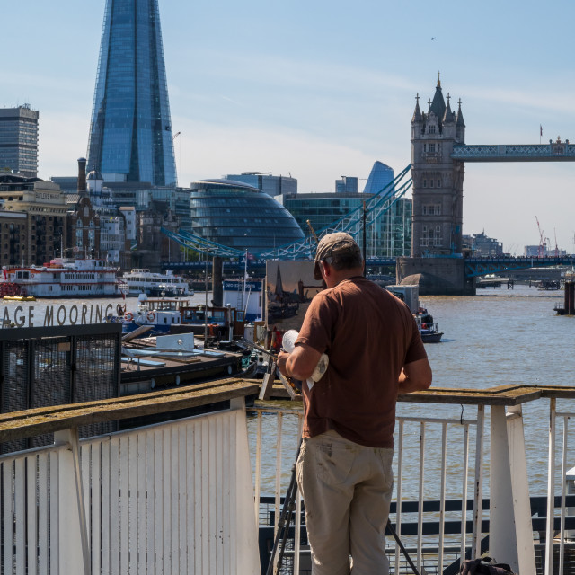"""""""Painting the Shard Building"""" stock image"""