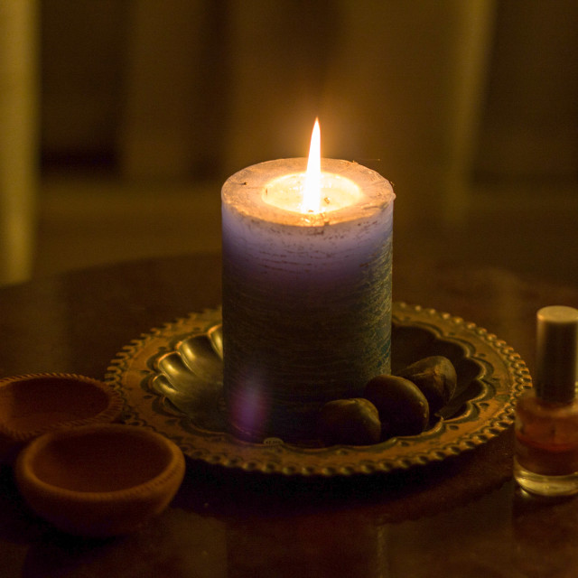 """""""ceremonial candlelight cleansing ritual"""" stock image"""