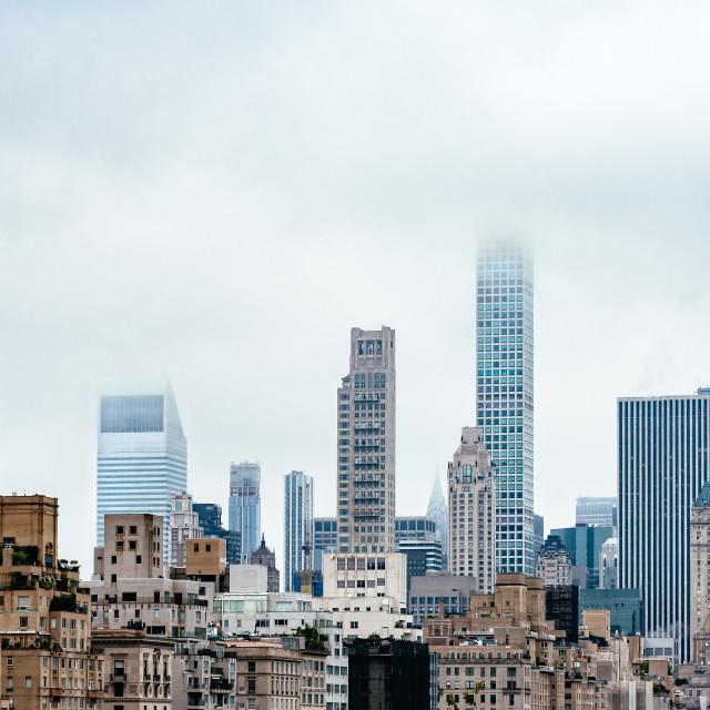 """""""Skyline of New York City a misty day"""" stock image"""