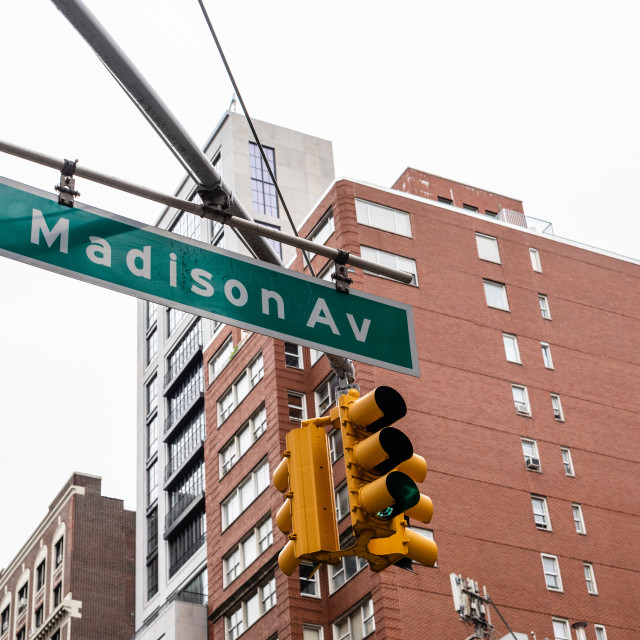 """""""Madison Avenue road sign in New York City"""" stock image"""