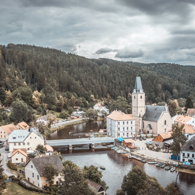 """""""View on nice small historical town in Czech republic"""" stock image"""