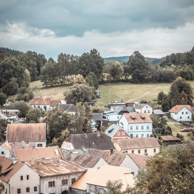 """Several village houses on hill above river Vltava"" stock image"