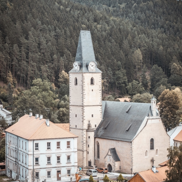 """""""Nice church in small historical town in Czech republic"""" stock image"""