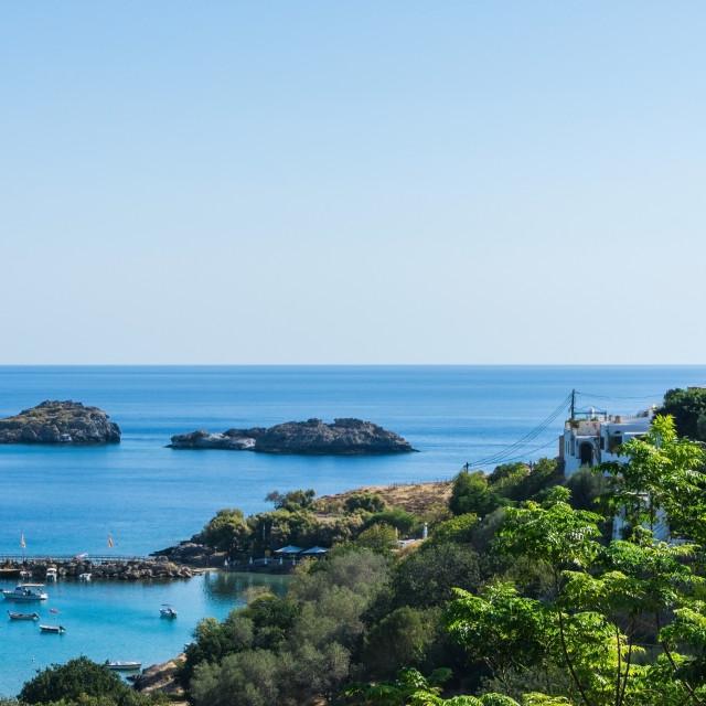 """Several rocks in Mediterranean sea near Rhodes Island"" stock image"