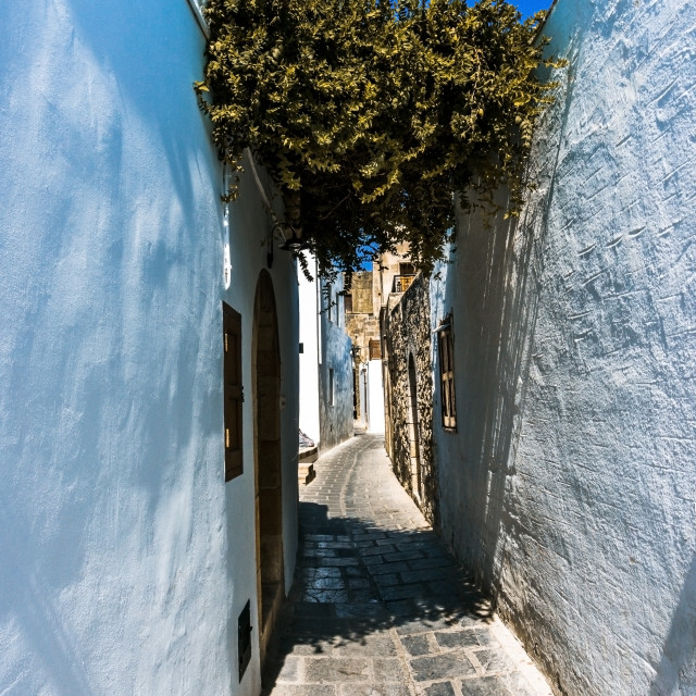 """""""Empty street in famous town Lindos on Rhodes island"""" stock image"""